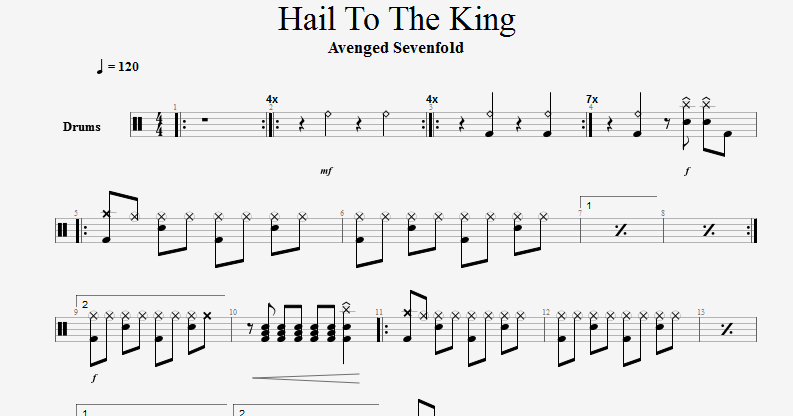 POLYGON 結他CHORD: Avenged Sevenfold Hail To The King [Drums Tab]