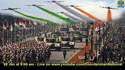 The Army and the Air Force putting up a display at the Republic Day Parade