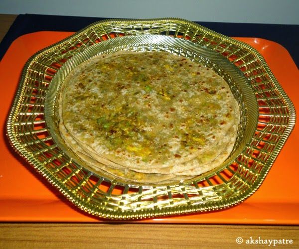 paratha placed in a plate