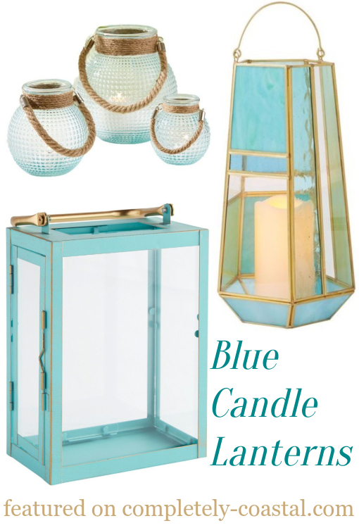 Blue Glass Candle Lanterns