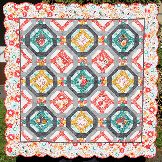 Designer Garden Quilt Free Pattern Designed by Stacey Day of Stacey in Stitches, Featuring the Flora Collection by Kelly Ventura