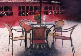 赤崁樓 椅子とテーブルのアップ
