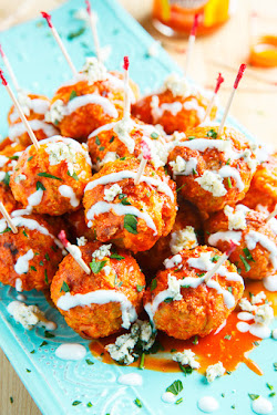 Jalapeno Popper Stuffed Buffalo Chicken Meatballs