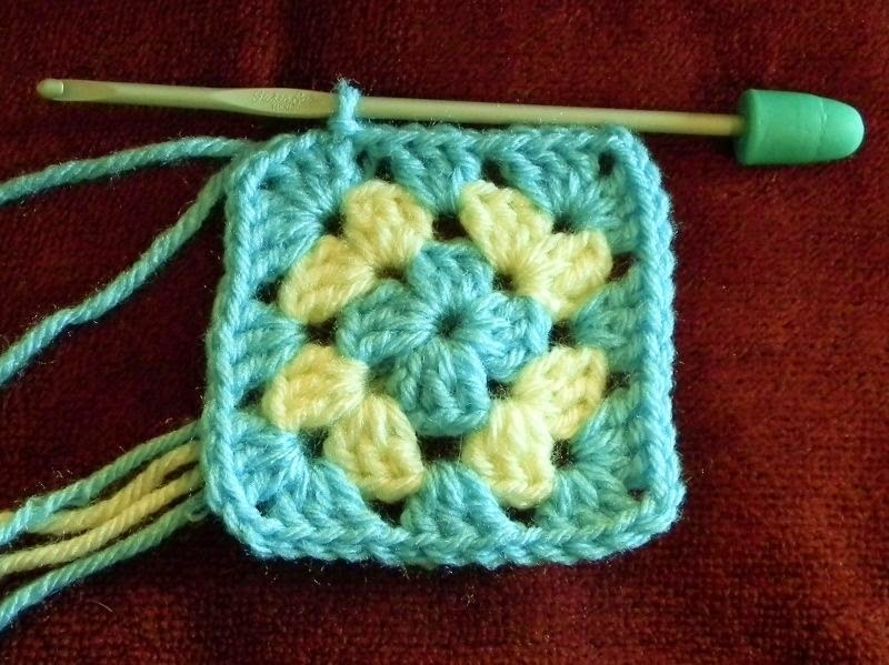 Granny square crocheted from a chart