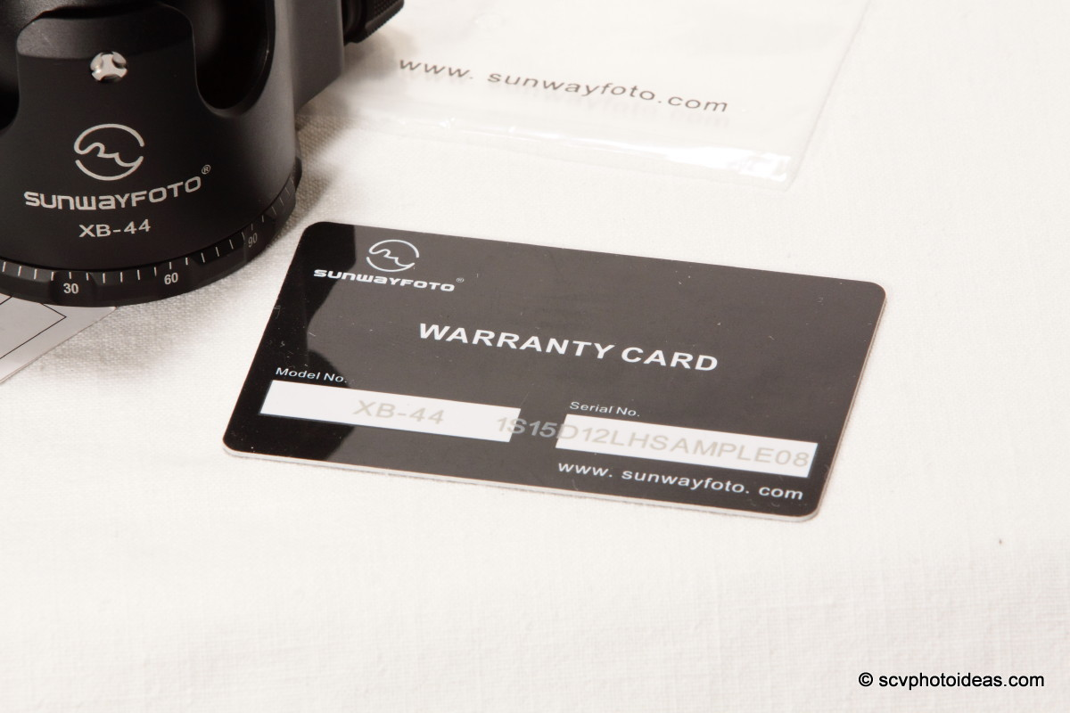 Sunwayfoto XB-44 warranty card