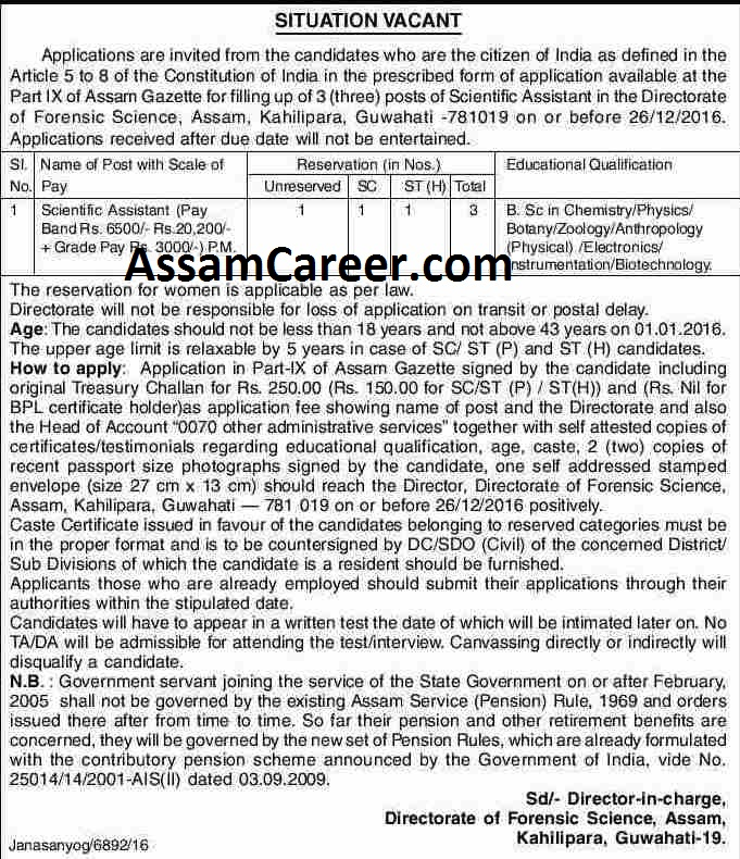 Scientific Assistant Posts In Directorate Of Forensic