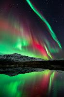 Aurora over Høgtuva Mountain