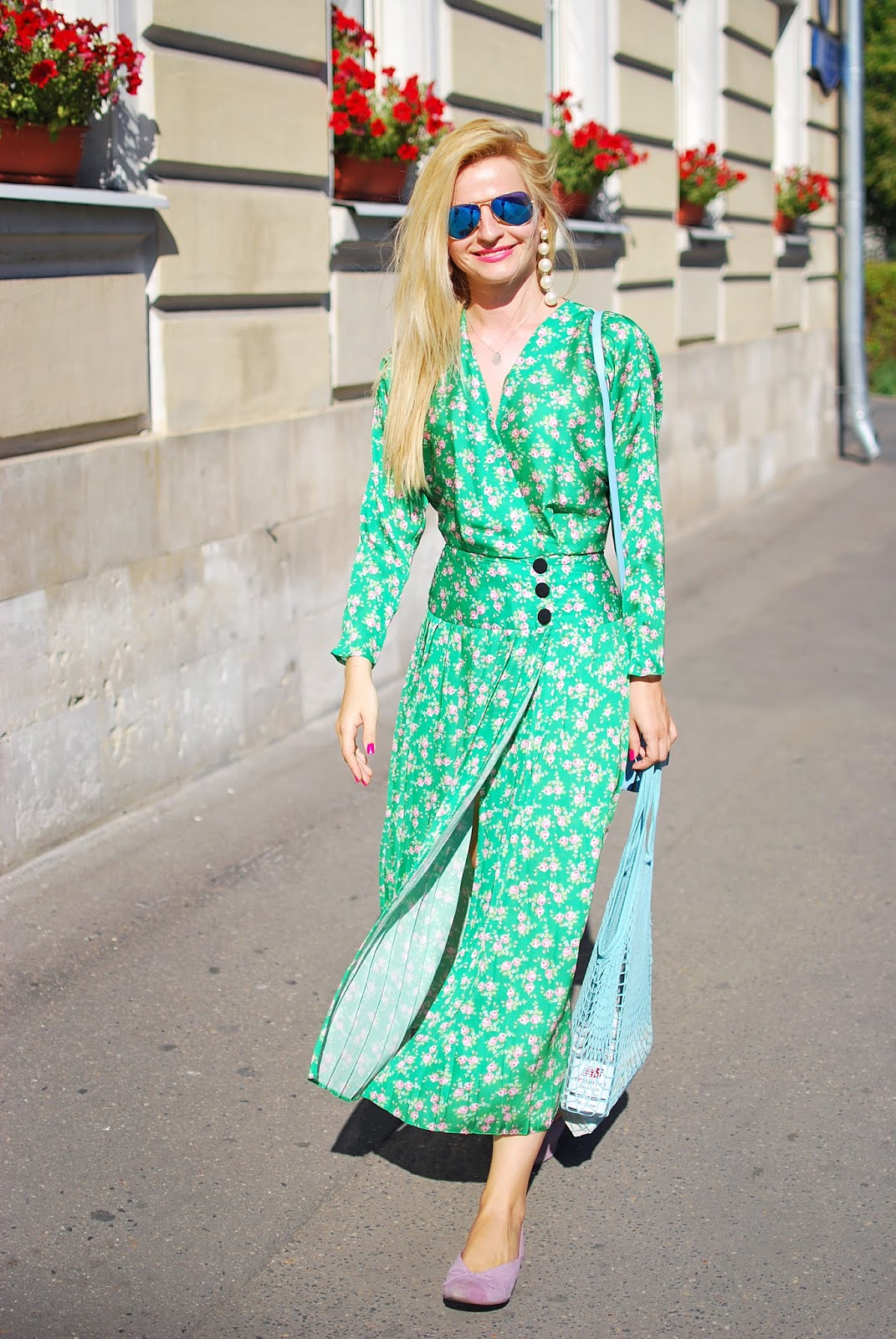 модные образ лета, green printed pleated dress outfit