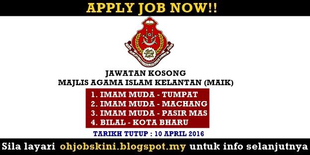 Jawatan Kosong Majlis Agama Islam Kelantan (MAIK)