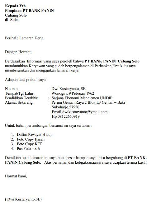 Contoh Surat Lamaran Kerja Bank BNI yang Baik dan Benar Resmi