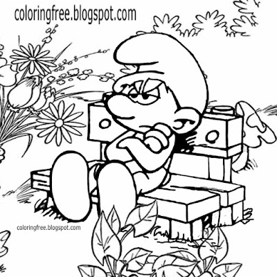 Gloomy Smurfs cartoon character grouchy Smurf coloring book picture of older kids flower doodling