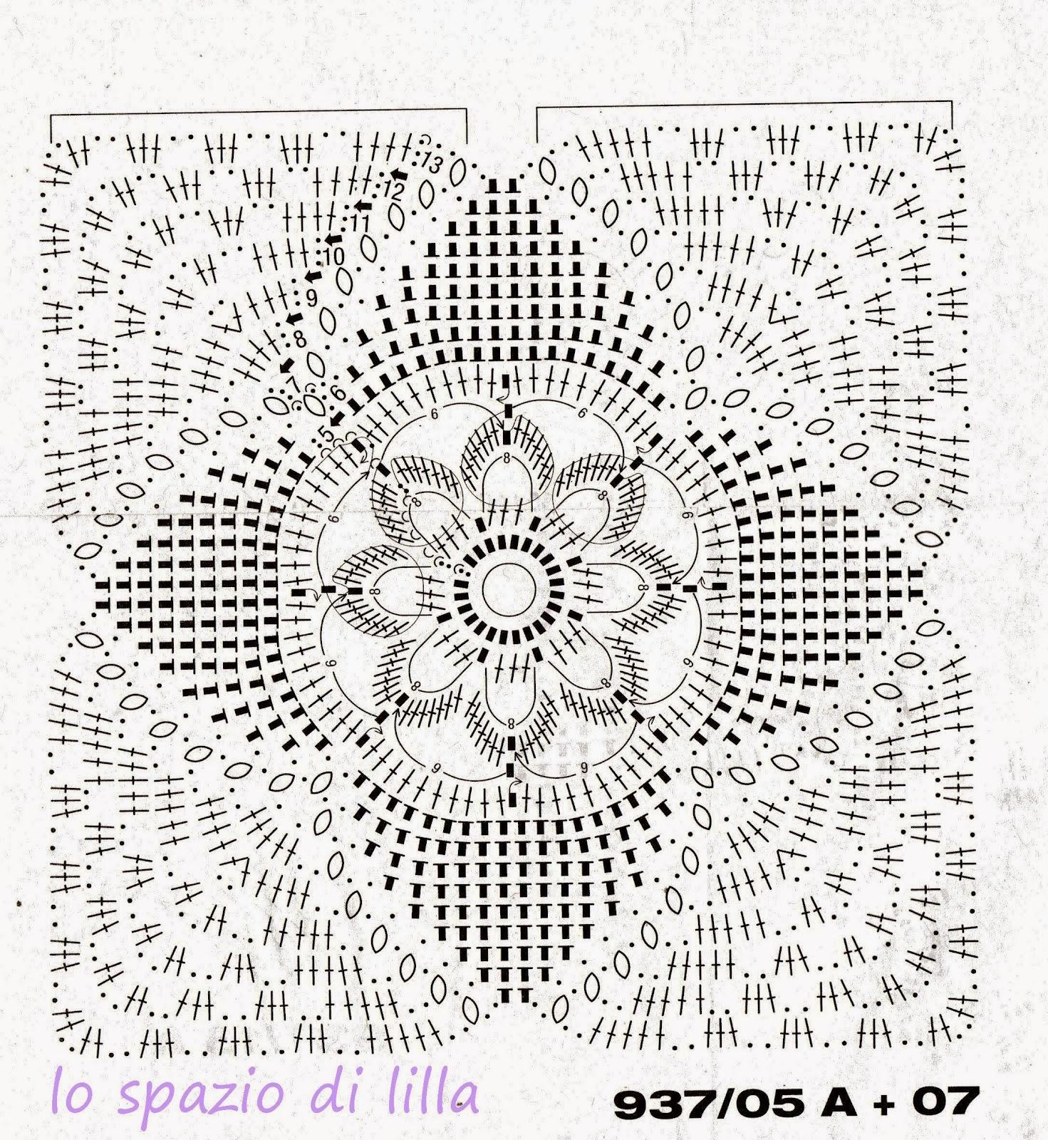 Hobby lavori femminili  ricamo  uncinetto  maglia Schema uncinetto  Mattonella per copriletto