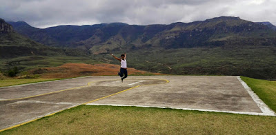 Katchie jumping at the Drakensberg