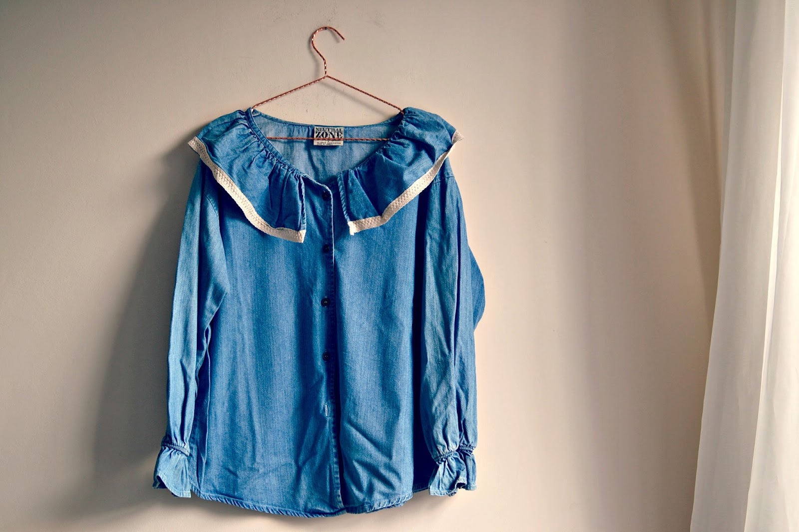 vintage denim frilled ruffled blouse