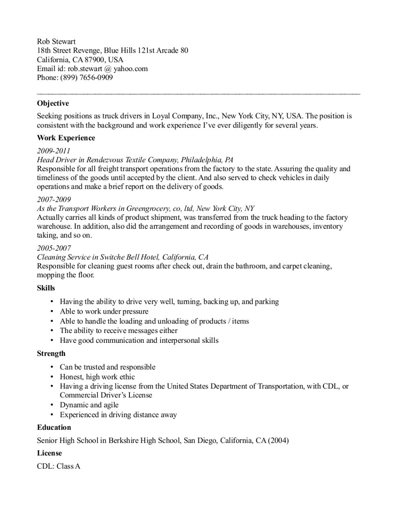 cdl b driver courier resume example world class b driver resume – Truck Driving Skills for Resume