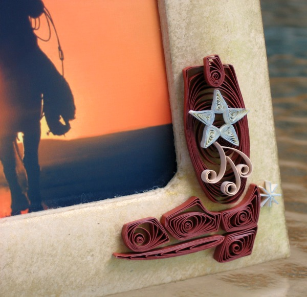 quilled cowboy boot on photo frame