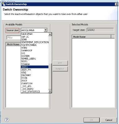 SAP HANA Switch Ownership