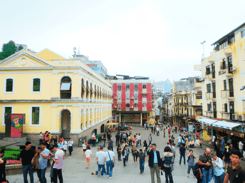 View of the street leading to Largo do Senado from the Ruins of St. Pauls in Macau