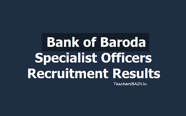 Bank of Baroda SO, Specialist officers Results 2019