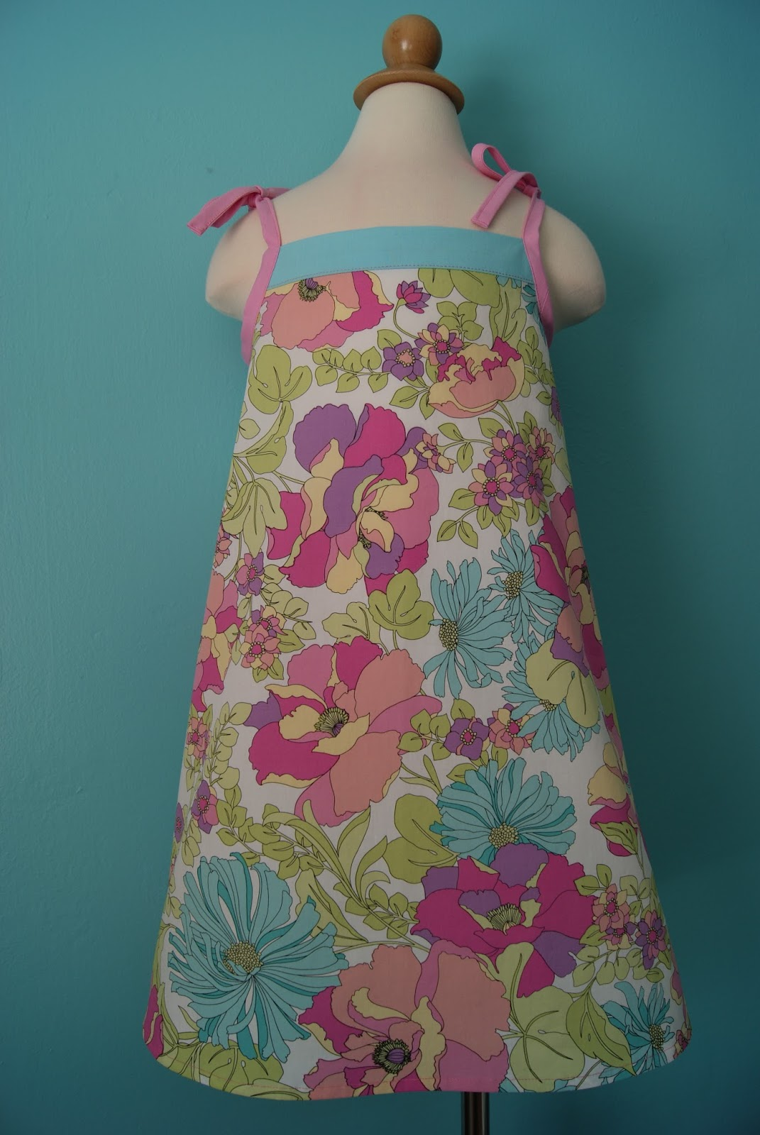 Robin's eggs blue and bubble gum pink Popover Sundress by nest full of eggs