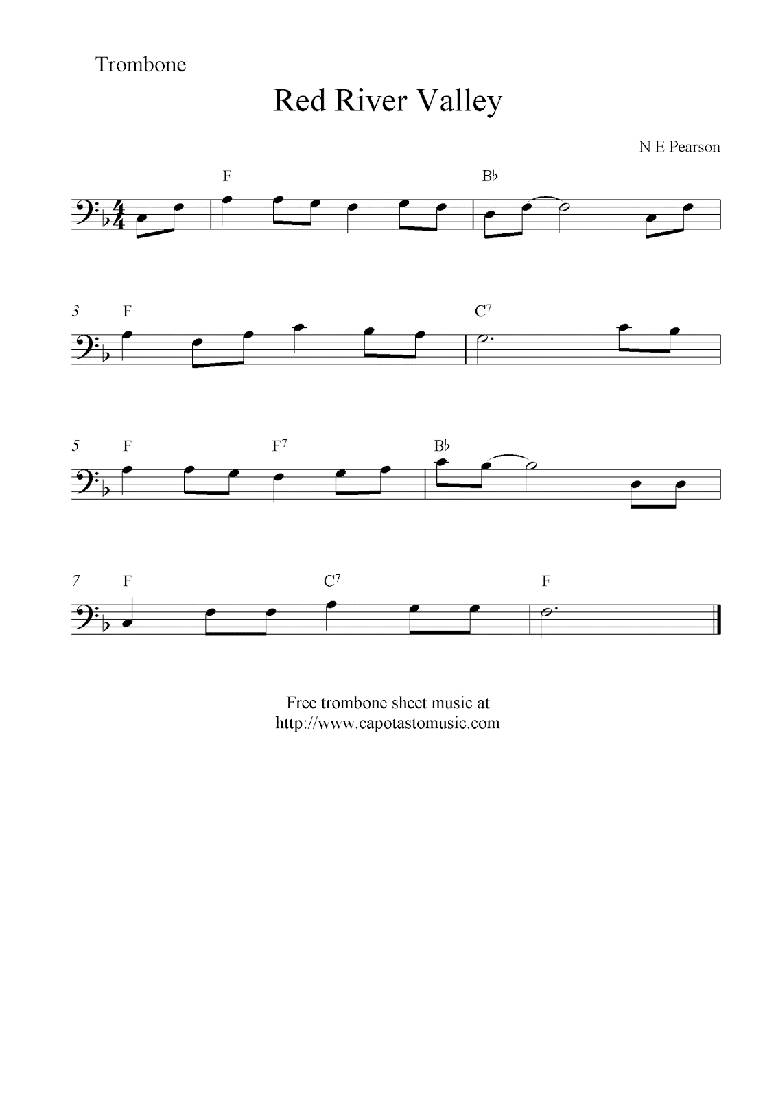Trombone Music Notes
