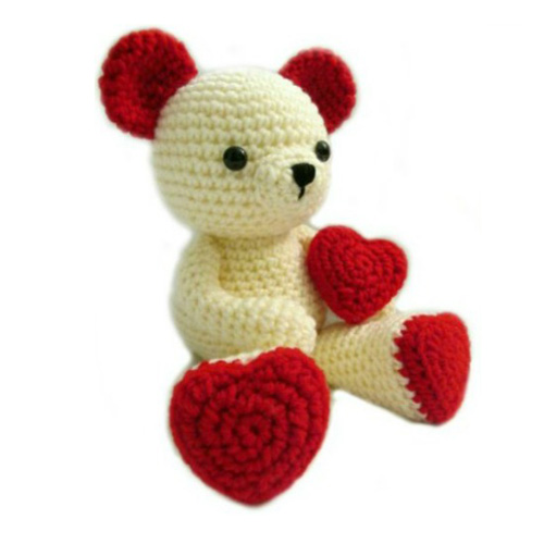 Valentine Teddy Bear With Heart Shaped Feet - Free Pattern