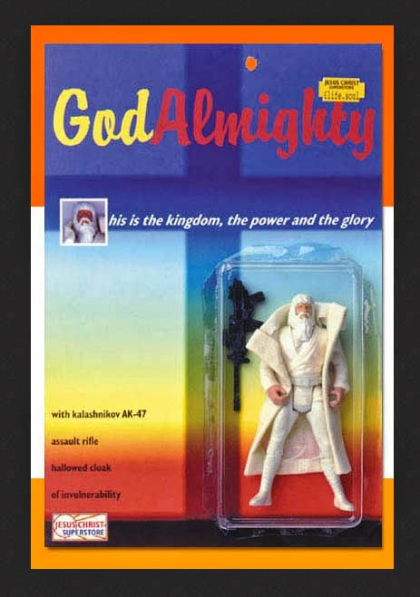 Funny God Almighty Action Figure Toy - His is the kingdom, the power and the glory - with kalashnikov AK-47 assault rifle, hallowed cloak of invulnerability