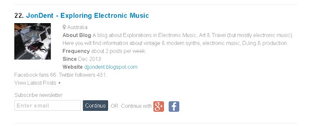 JonDent - Exploring Electronic Music: Top 40 Synth Blogs
