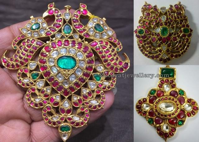 Large Kundan Ruby Pendants