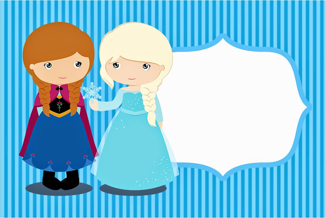 Para hacer invitaciones, tarjetas, marcos de fotos o etiquetas, para imprimir gratis de Frozen Niñas para Navidad Azul.