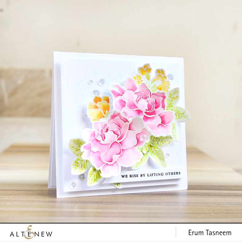 Altenew Build-A-Flower Gardenia | Peony Bouquet | Coral Charm | Watercoloured with Liquid Watercolours | Erum Tasneem | @pr0digy0