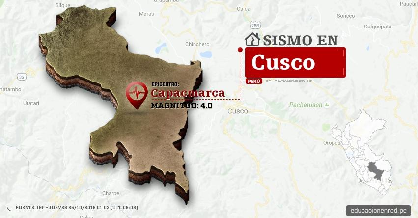 Temblor en Cusco de magnitud 4.0 (Hoy Jueves 25 Octubre 2018) Sismo EPICENTRO Capacmarca - Chumbivilcas - IGP - www.igp.gob.pe