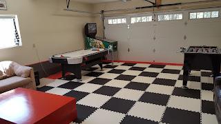 Greatmats foam mats garage game room floor black and white
