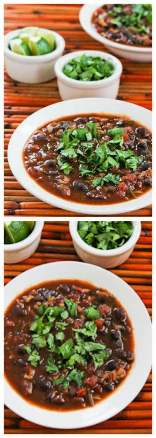 Slow Cooker Vegetarian Black Bean and Rice Soup with Lime and Cilantro from Kalyn's Kitchen found on SlowCookerFromScratch.com
