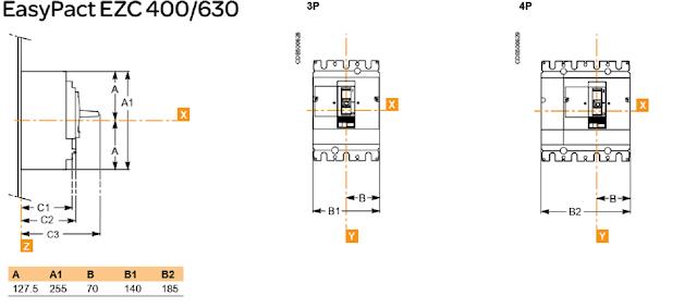MCCB-EZC-400A-Dimensions