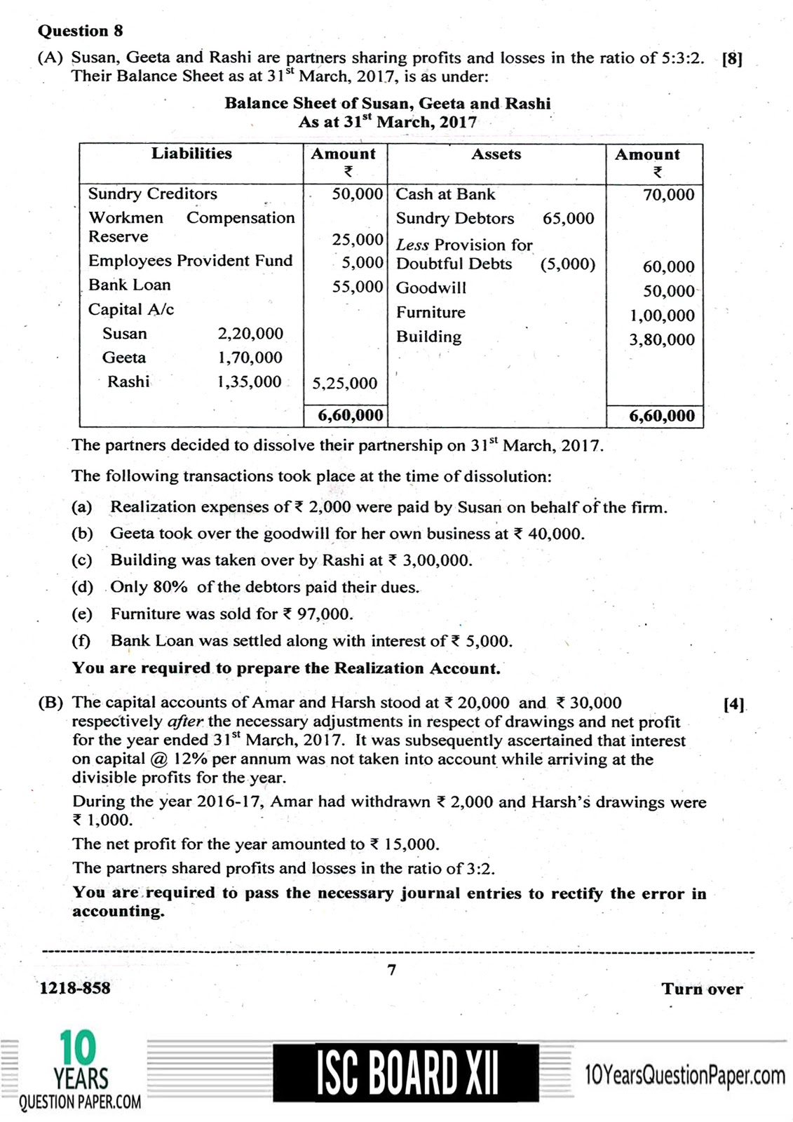 ISC Board 2018 class 12th Accountancy question paper