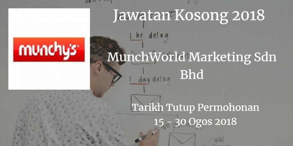 Jawatan Kosong MunchWorld Marketing Sdn Bhd 15 - 30 Ogos 2018