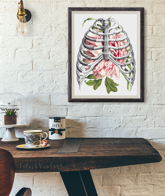 Etsy Peony and skeleton flower art anatomy illustration wall art poster