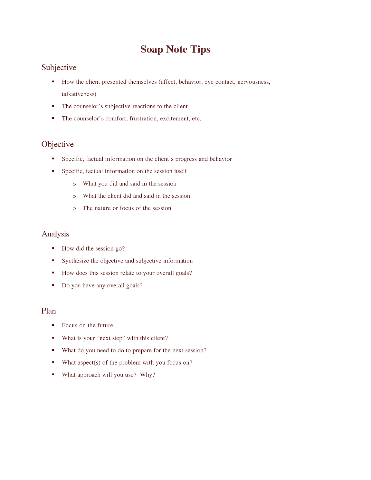 Free download Simple soap note templates