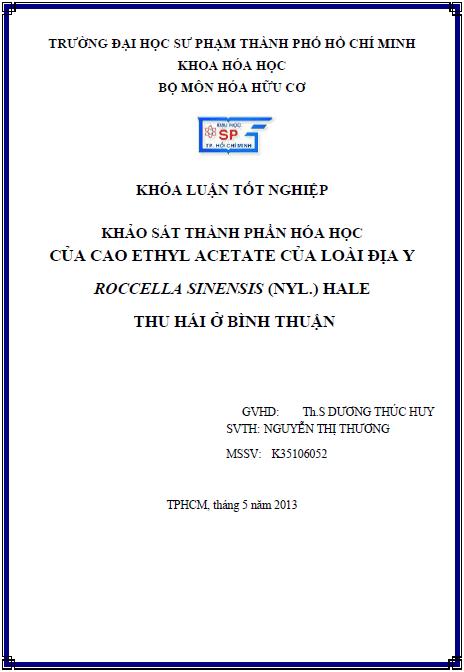 Khảo sát thành phần Hóa học của cao ethyl acetate của loài địa y Roccella sinensis (Nyl.) Hale thu hái ở Bình Thuận