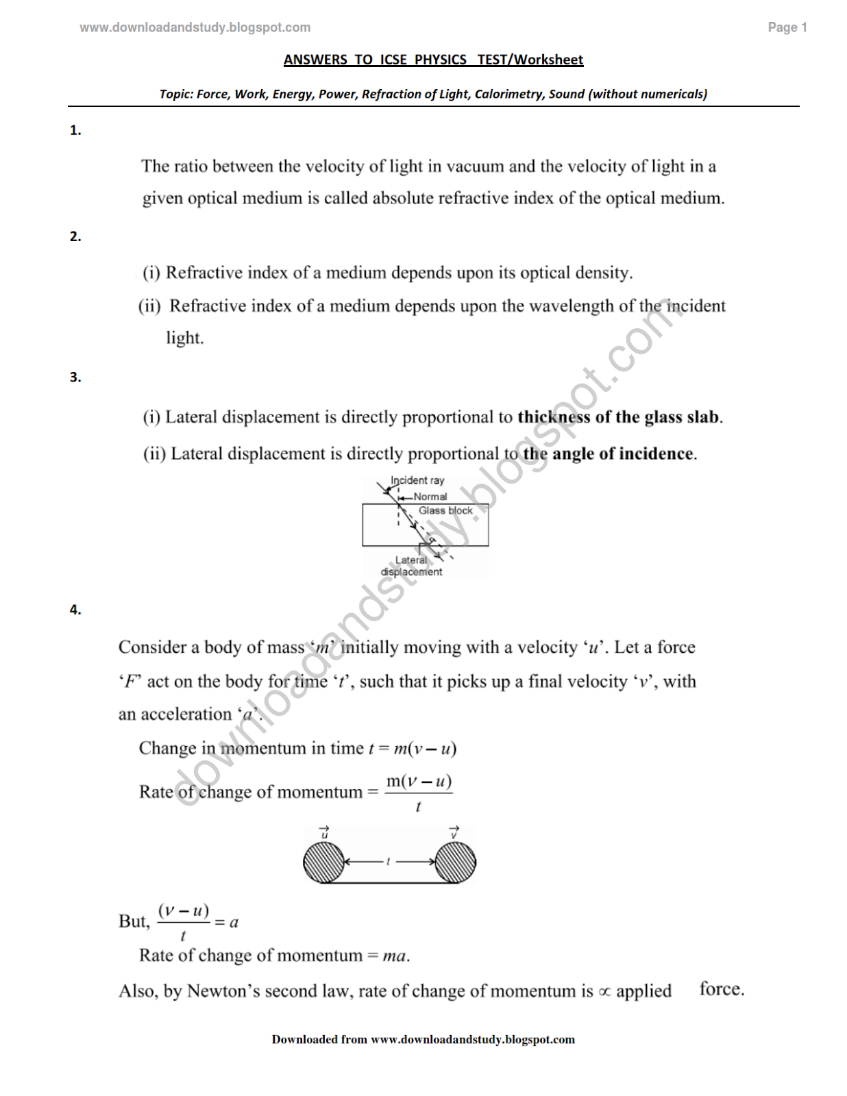Download Amp Study Solution To Icse Physics Test Worksheet Multiple Topics Without Numericals