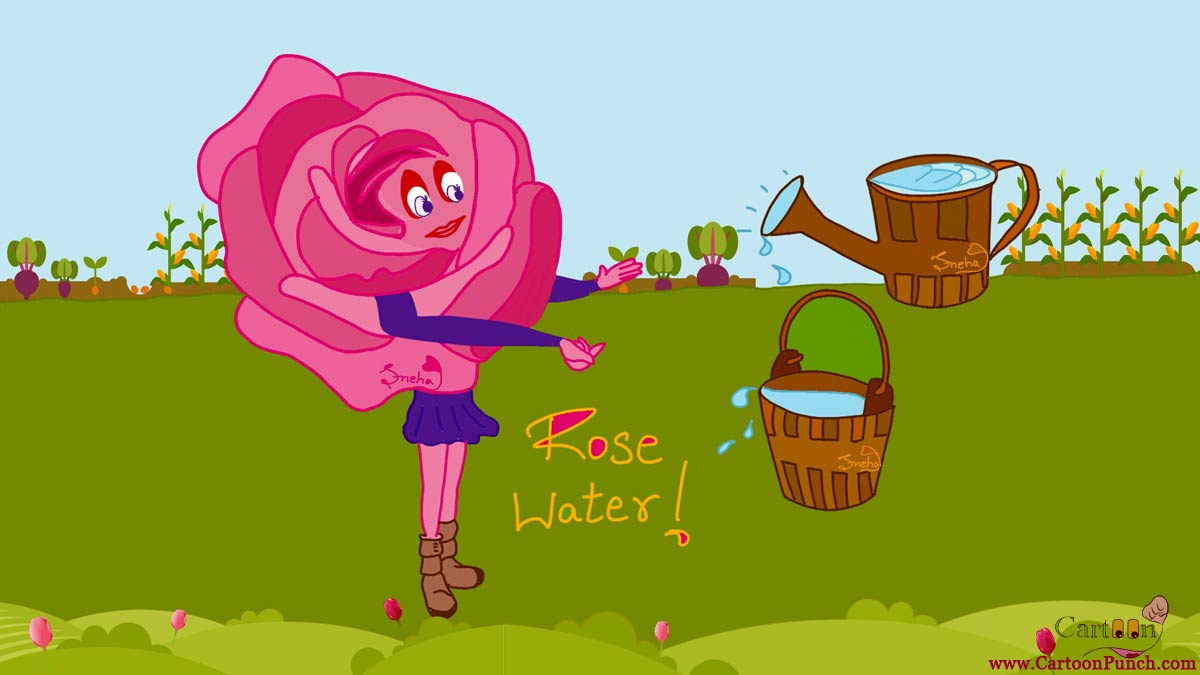 beautiful lady rose water bucket in garden cartoons by sneha