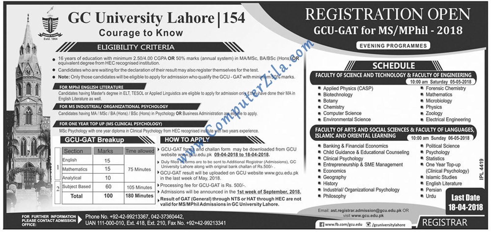 Government College University Admissions Spring 2018