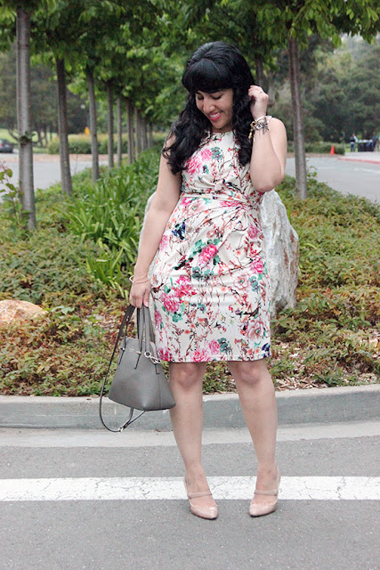 Uttam Floral Dress Le Tote Spring Work Outfit