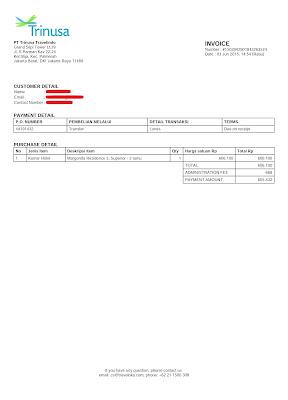 Contoh Invoice dari Traveloka (Pemesanan Hotel)
