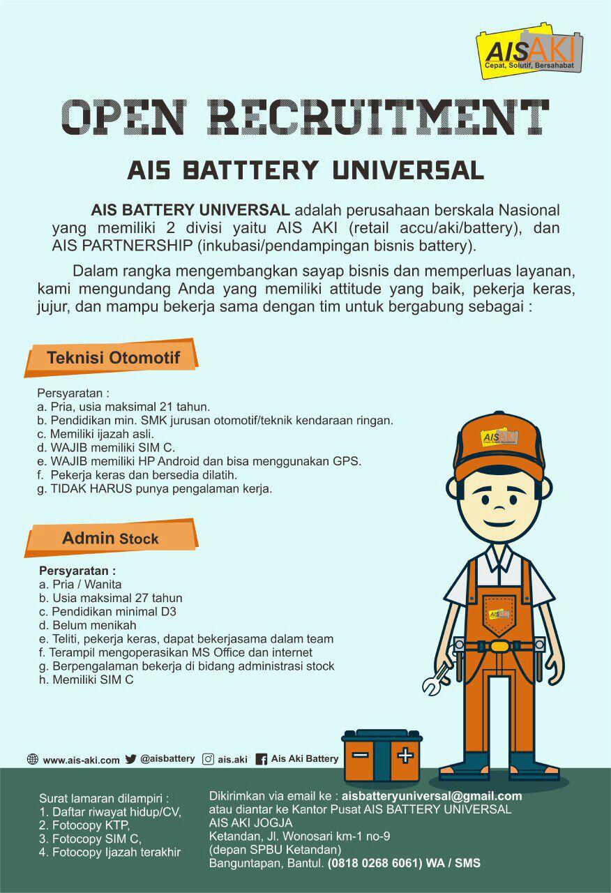 Lowongan Kerja Teknisi Otomotif Admin Stock Di Ais Battery Universal Yogyakarta Portal Info Lowongan Kerja Jogja Yogyakarta 2021