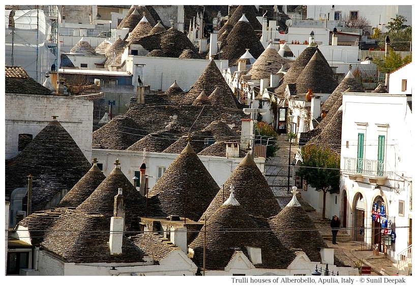 Trulli houses in Alberobello - Different kind of roofs seen from Belvedere - Photographs by Sunil Deepak