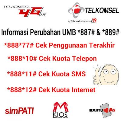 Informasi Perubahan UMB *887# dan *889# Telkomsel Terbaru 2017