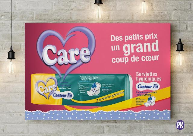 création affiche pub 60x40 Care serviettes hygiéniques