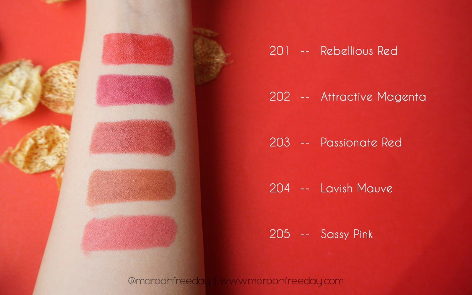 Swatches Rivera Absolute Matte Lipstick